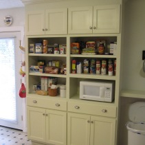 A floor-to-ceiling custom built pantry