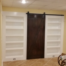 Recessed Bookcases with Barn Door
