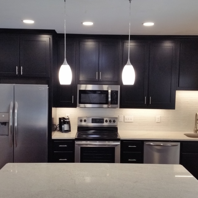 Shaker style kitchen cabinets in black